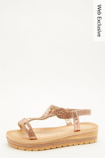 Rose Gold Diamante Flatform Wedges